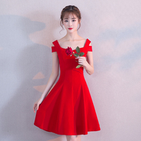 Modern Femme Elegant Slim Evening Dresses Qi Pao Women Chinese Wedding Dress Cheongsam Red Bride Marry Gown Qipao Promotion