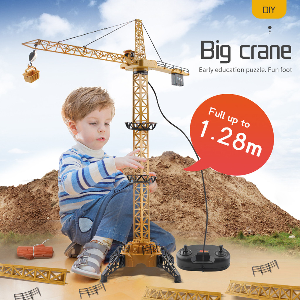 50 Inch Tall Wired Remote Control Crawler Crane Toy Bucket Lift Up Construction Activity Playset Childern Toys Educational Dolls