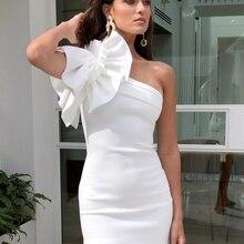 Новинка, зимние белые мини вечерние платья, женское Бандажное платье с вырезом лодочкой, женское платье на одно плечо