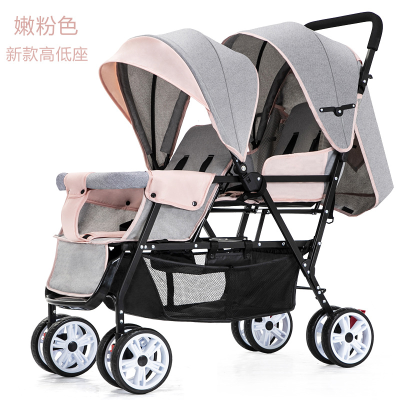 Double Stroller Lightweight Folding Twin Baby Stroller Front and Rear Reclining Baby Pram Babyfond Foldable Dolly