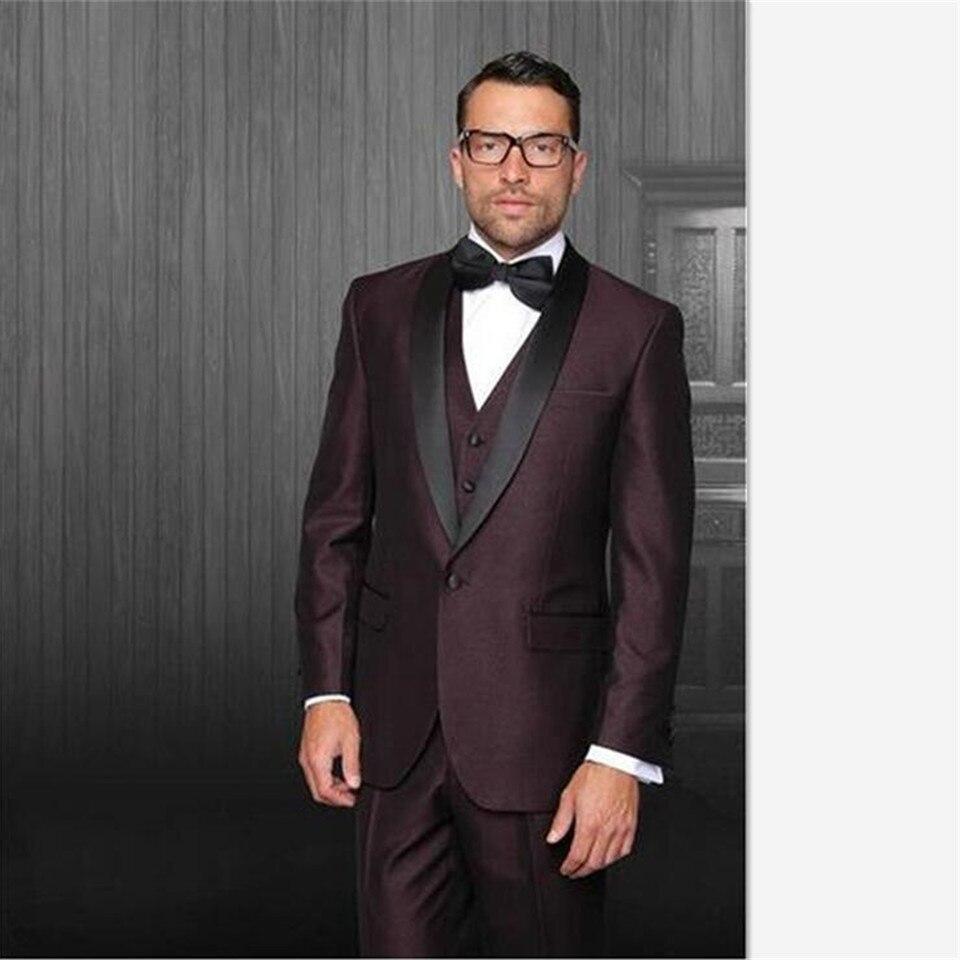 Custom Made A Button Gap Burgundy Men Suit Groom Black Lapel Dress Wedding Best Man Men's Suits 3 Piece Set (jacket+pants+vest)