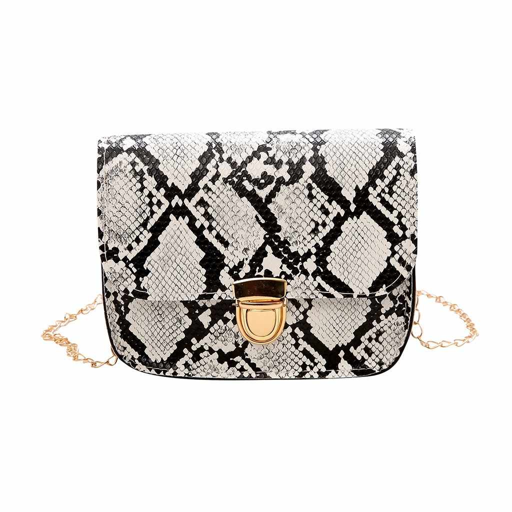 Women Snake Pattern Fashion Shoulder Messenger Bag Crossbody Bags For Women Chain Casual Chain Small Square Bag#Y20