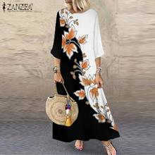 ZANZEA Women Bohemian Flower Printed Sundress Summer Vintage 3/4 Sleeve Beach Long Dress 2021 Casual Vestidos Kaftan Oversized
