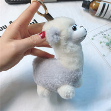 Cute Alpaca Bag Pendant Small Wool Fur Key Cap Cool Key Ring Supply(China)
