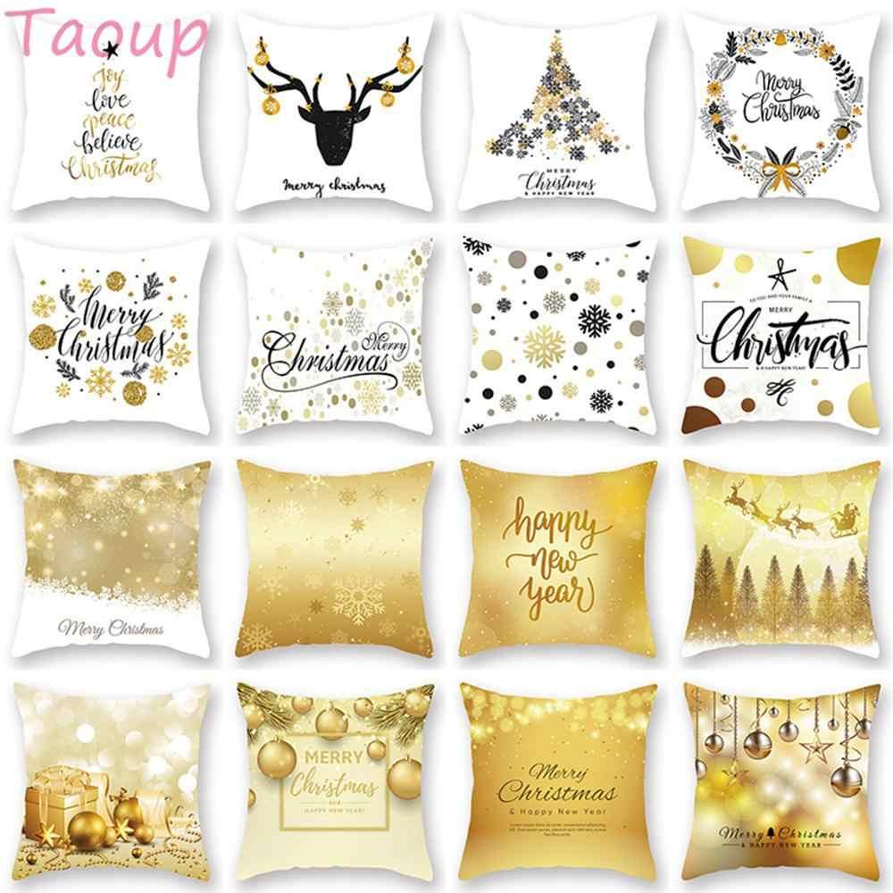Taoup or noir flocon de neige joyeux noël taie d'oreiller décor de noël pour la décoration intérieure pour noël ornements noël noël père noël