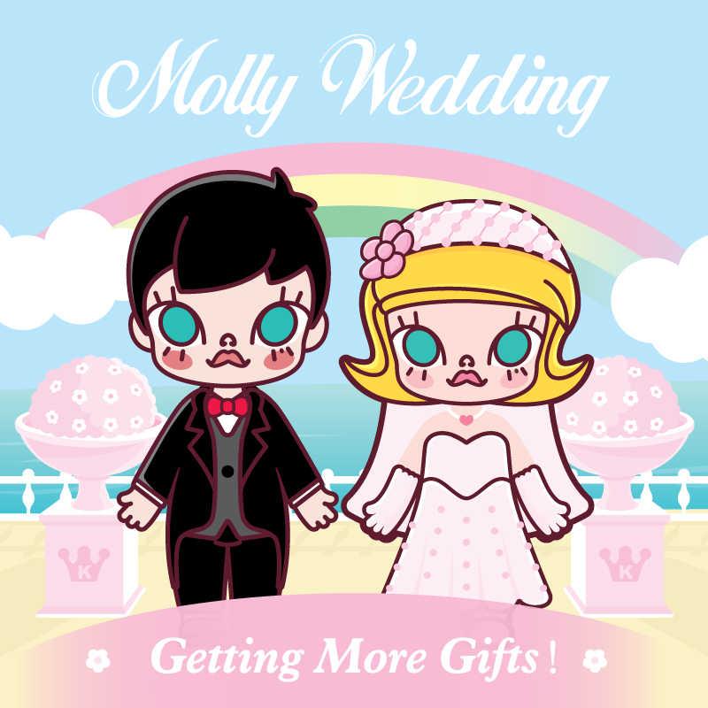 POP MART Pernikahan Molly BJD untuk Valentine Day2020 Anak Hadiah Mainan Baru Tiba Gratis Pengiriman
