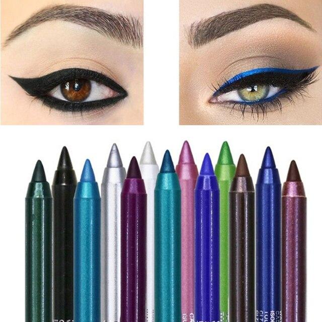 12 Color Long-lasting Eyeliner Pencil Waterproof Pigment Green Brown eyeliner  1