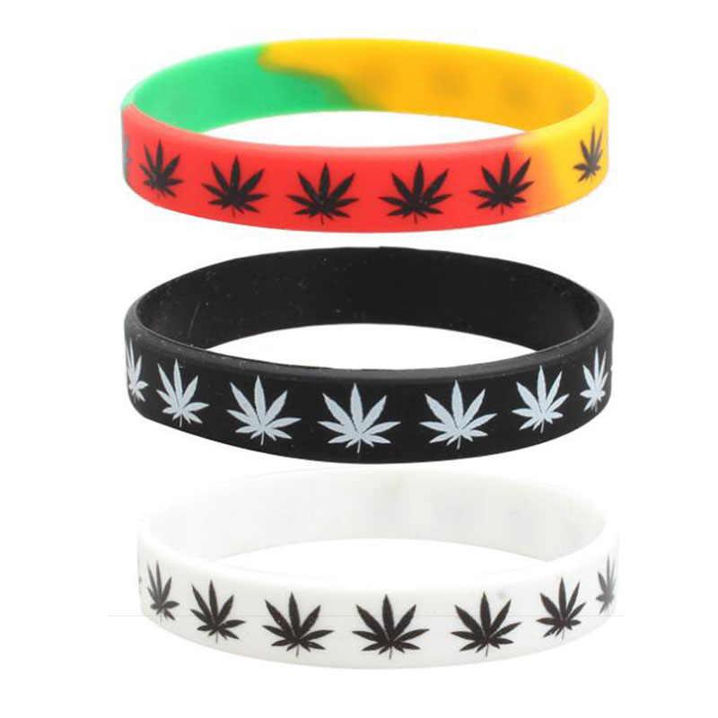 2 Pcs Daun Jamaica Weed Rasta Reggae Silikon Gelang & Gelang Hitam Putih Warna Gelang Fashion Perhiasan
