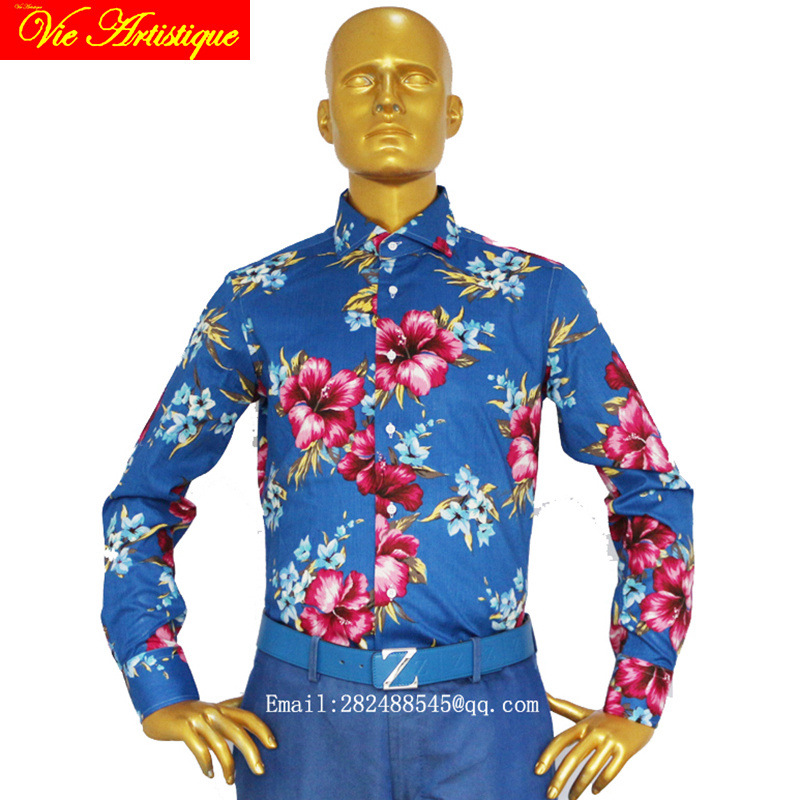 Custom Tailor Made Women Men's Bespoke Cotton Floral Shirts Business Formal Wedding Ware Blouse Blue Large Red Flower Fashion