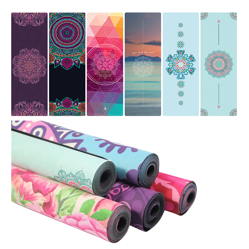 Travel Yoga Mat Rubber Non Slip Gym Mat 1.5mm Ultra-Thin Foldable 2-in-1 Mat+Towel For Yoga Pilates Fitness Exercise With Carry