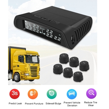 1 Set Black TP-8610 Solar Wireless Tire Pressure Monitoring Systemwith 6 External Sensors, Digital Tyre Pressure Monitoring for