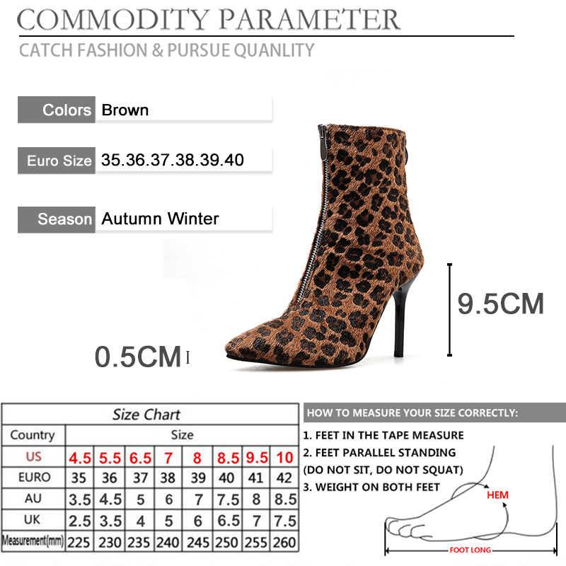 BYQDY sonbahar kış çizmeler moda leopar yüksek topuklu yarım çizmeler seksi pompalar sivri burun vahşi kadın fermuar çizmeler hayvan baskı