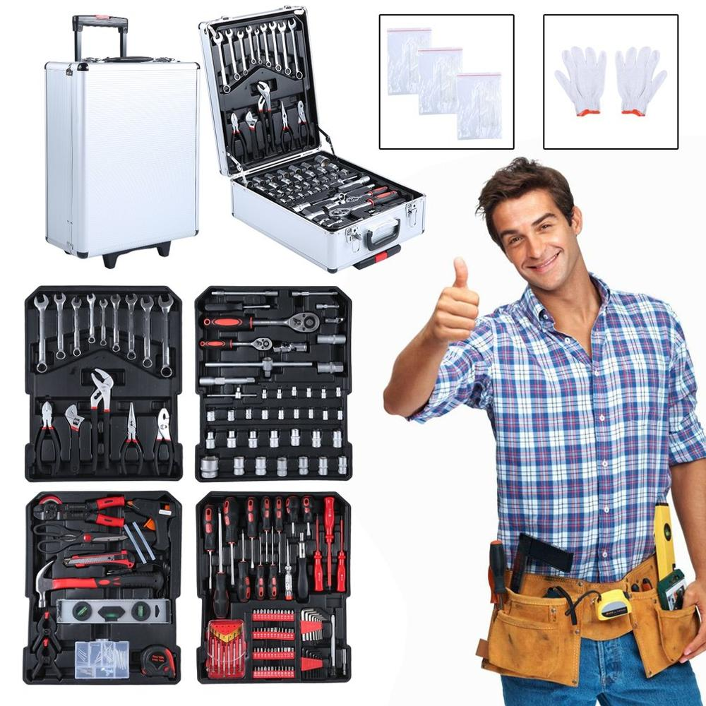 729pcs Tool Trolley Suitcase Set With Aluminum Alloy Carry Box Professional Precision Tools Garage Mobile Workshop Toolbox
