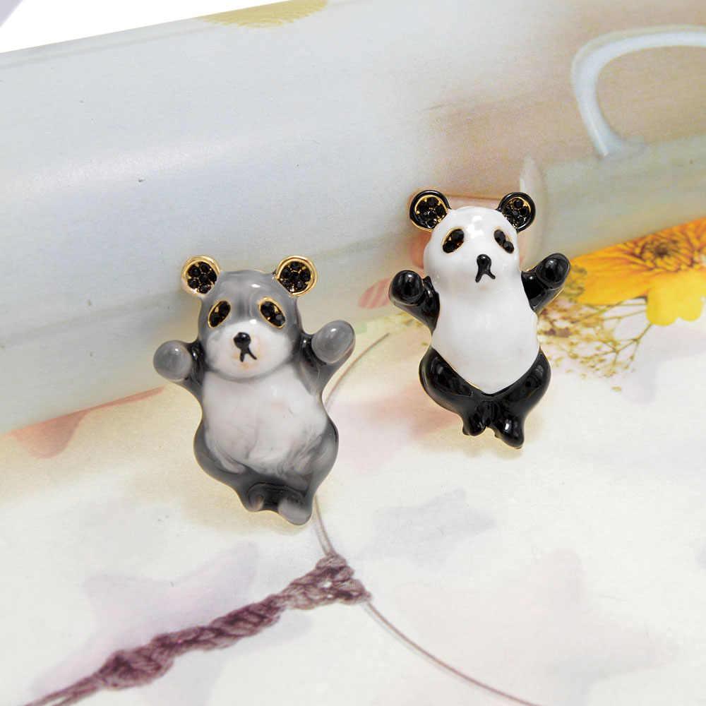 Cindy Xiang Baru Lucu Panda Bros untuk Anak-anak dan Wanita Enamel Desain Hewan Bros Pin 5 Warna Avaibale hadiah Yang Baik