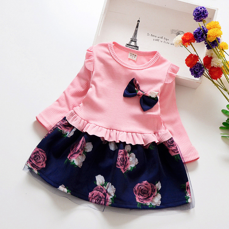 Spring Autumn Toddler Girl Dress Cotton Long Sleeve Toddler Dress Floral Bow Kids Dresses for Girls Spring Autumn Toddler Girl Dress Cotton Long Sleeve Toddler Dress Floral Bow Kids Dresses for Girls Fashion Girls Clothing