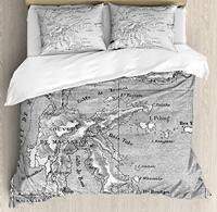 Island Map Duvet Cover Set Vintage Style French Map Chart of Sulawesi Island Mediterranean Destination Decorative 3 Piece Bed