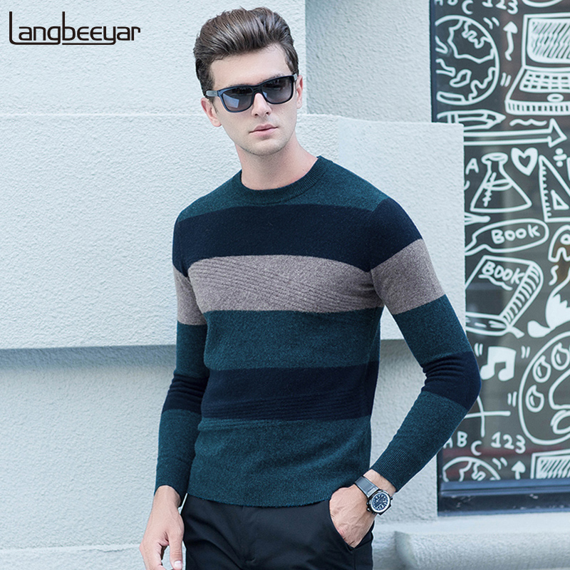 100% Wool New Fashion Brand Sweater For Mens Pullovers Warm Slim Fit Jumpers Knitwear Winter Striped Casual Mens Clothes