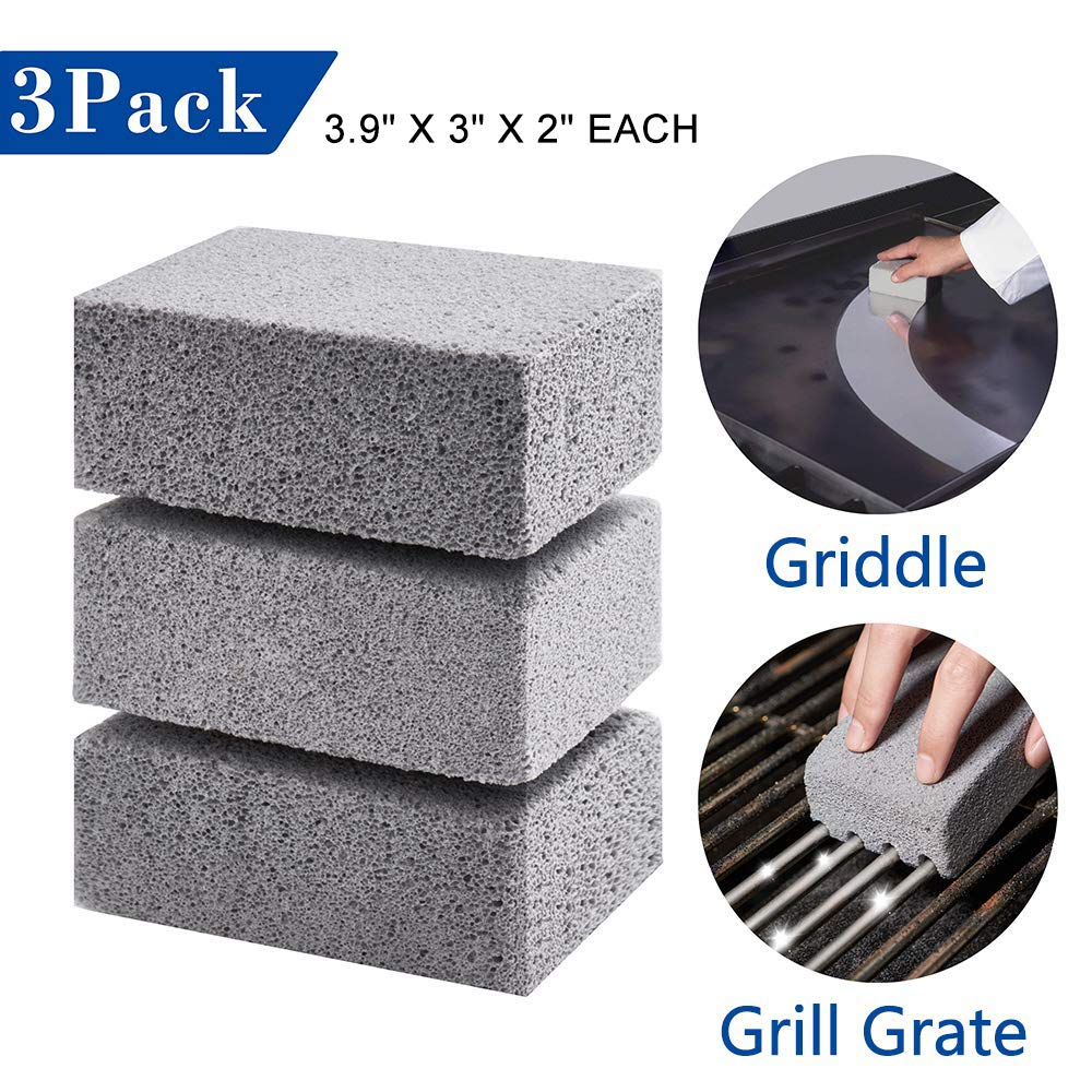 3Pcs BBQ Cleaning Stone Non Slip Handheld Grill Quickly Cleaner Brick Barbecue Scraper Griddle Removing Stains Brush
