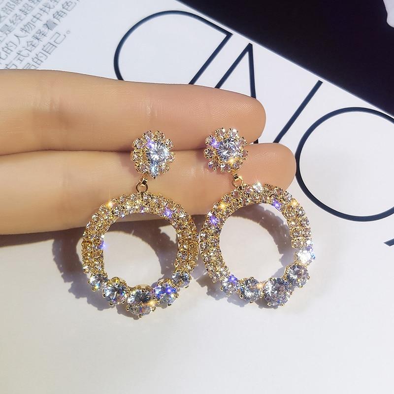 Elegant Crystal Earrings Woman Luxury Shining Gold Silver Color Round Rhinestone Dangle Earring Rhinestone Earrings