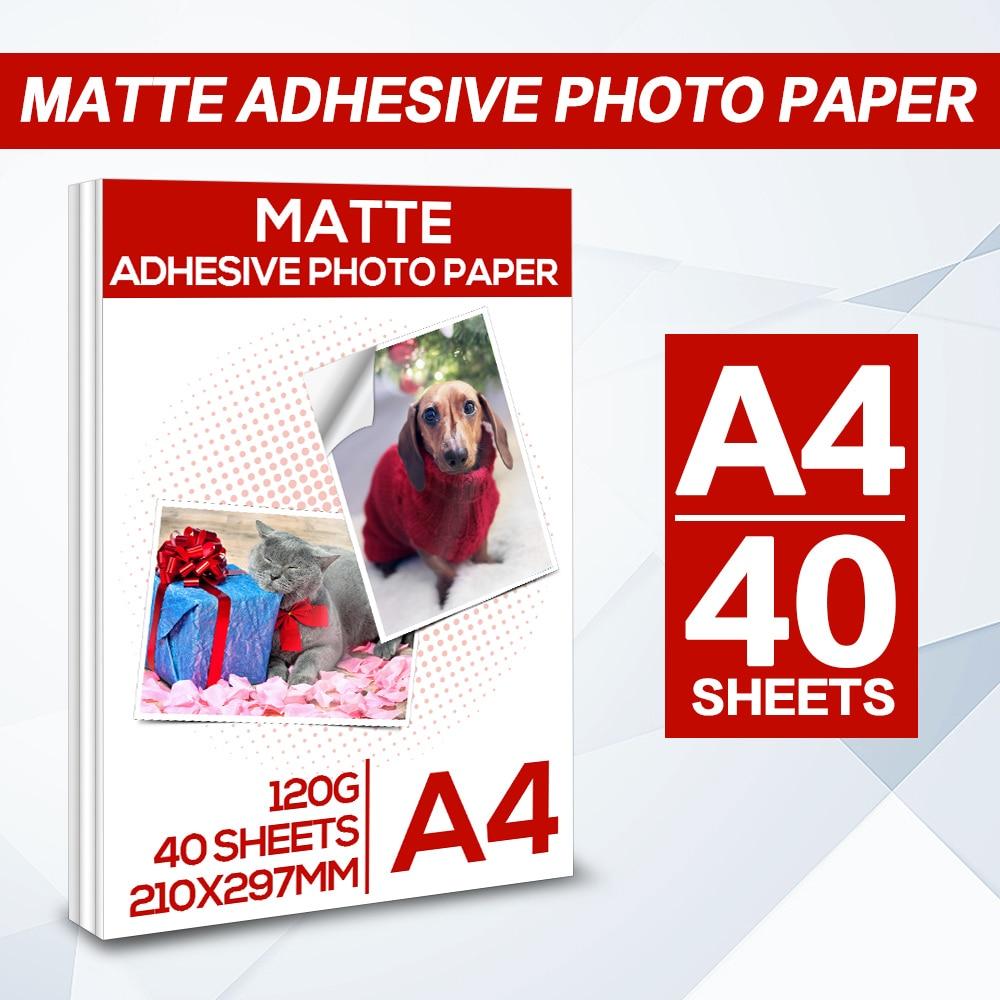 A4 20/40 Sheets Self-adhesive Matte adhesive photo paper for all Inkjet Printer Matte Printer Paper inkjet sticker photo paper