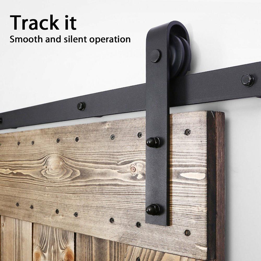 Single Door Sliding Door Rail Pulley Sliding Barn Door Hardware Kit Top Mounted Hanger Track Black Steel Closet Door Roller Rail in Slides from Home Improvement
