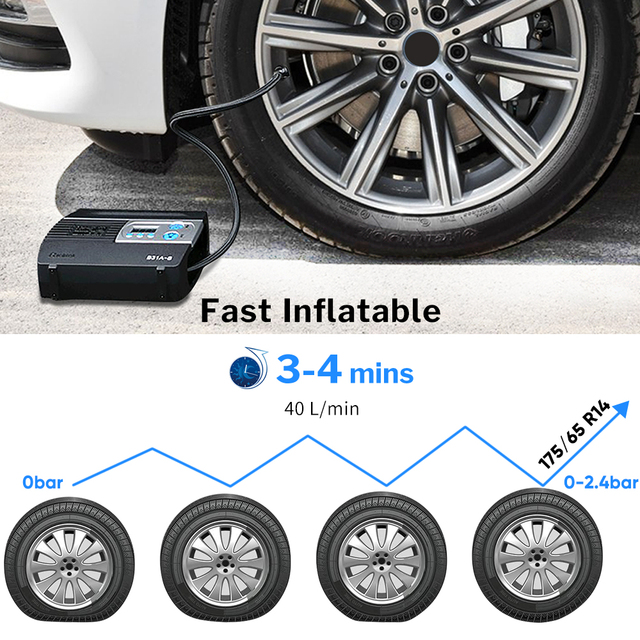 WINDEK Car Compressor for Auto Tire Pump 12 V Inflatable Tyre Inflator Electric Portable Digital Boat Air Inflation 12V