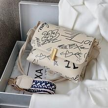 Square Bag Handbag Armpit-Bag Shoulder-Bag Crossbody-Bag-Width Graffiti French-Design
