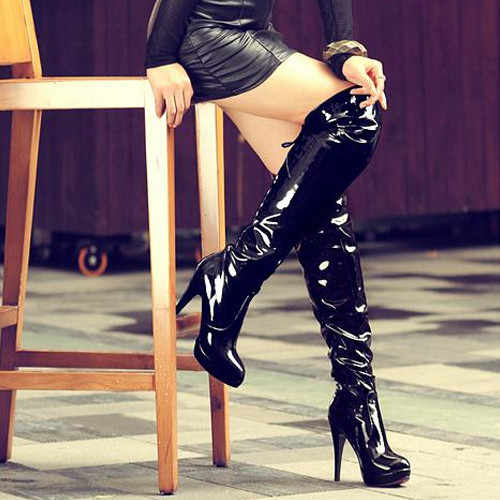 Sonbahar çizmeler kadın yüksek patentli deri Overknee uzun dans botları