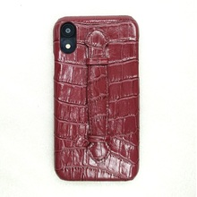 Genuine leather hand strap holder slim coque case for iPhone xr phone cases luxury cute crocodile ultra thin hard cover maroon