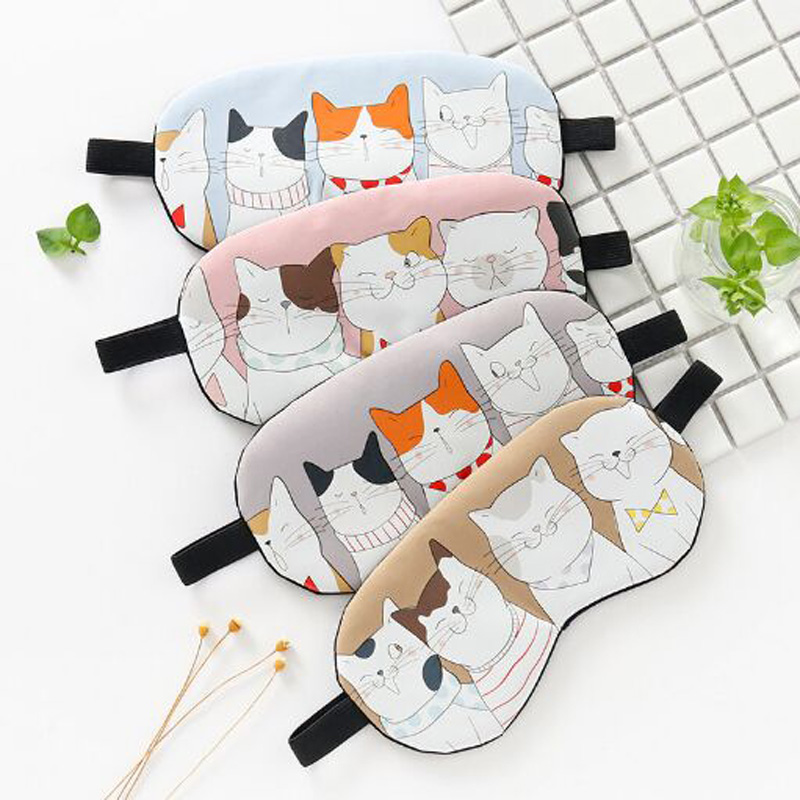 XEONGKVI Korean Cute Cartoon Cat Cotton Sleep Shading Eye Mask Apply Ice Eliminate Eye Fatigue Women Men Eye Mask