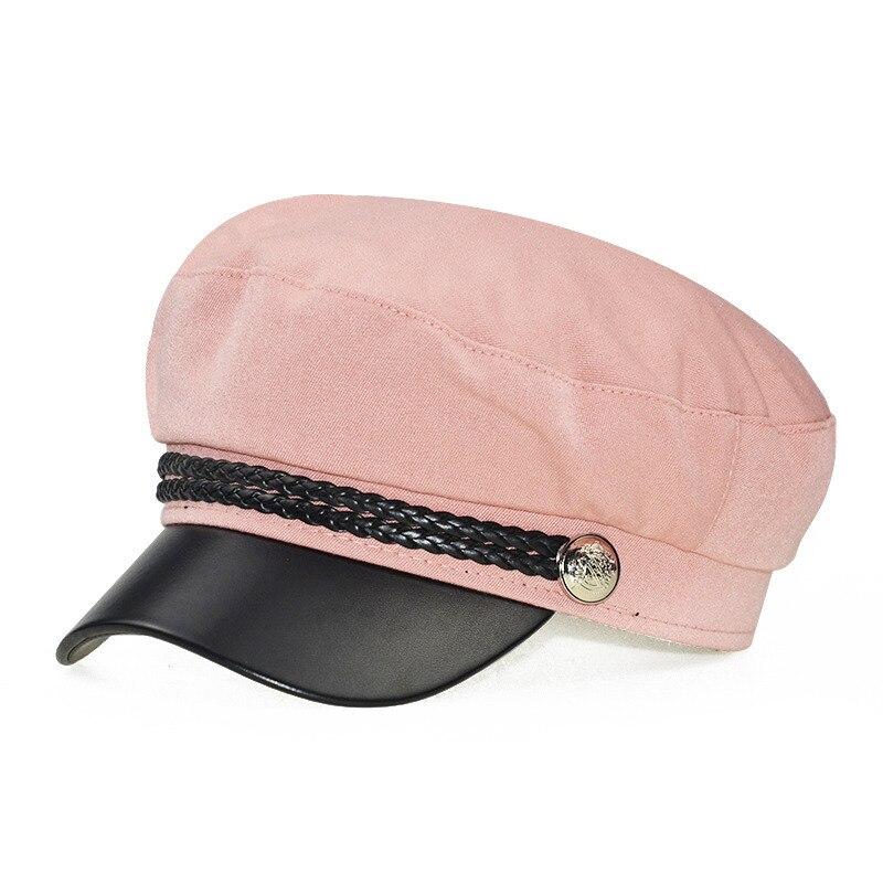 Зимняя женская Повседневная Военная шляпа винтажная мягкая хлопковая шерстяная плоский берет восьмиугольная кепка Модная элегантная женская шапка высокого качества - Цвет: Розовый