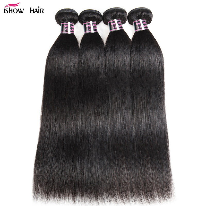 Ishow Hair 4 Bundles Straight Hair Brazilian Hair Weave Bundles Deals 8-28inch Double Weft 100% Non-Remy Human Hair Extensions