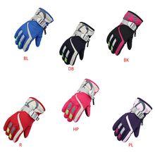 Детские Водонепроницаемые зимние лыжные перчатки для мальчиков и девочек; теплые уличные перчатки для верховой езды; ветрозащитные Нескользящие варежки с пряжкой