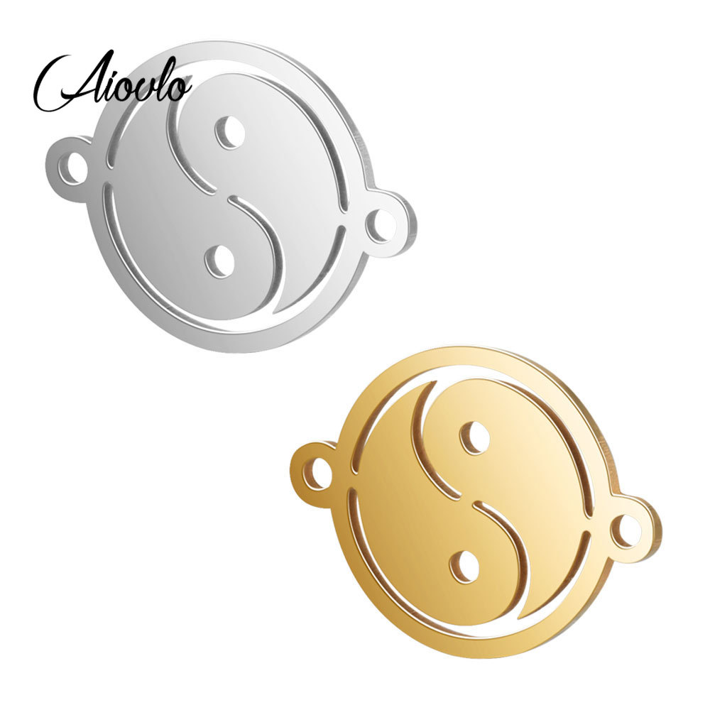 5pcs/lot Stainless Steel Taoism Taichi Yin And Yang Bracelet Connectors DIY Necklace Charms Pendant Jewelry Making Accessories