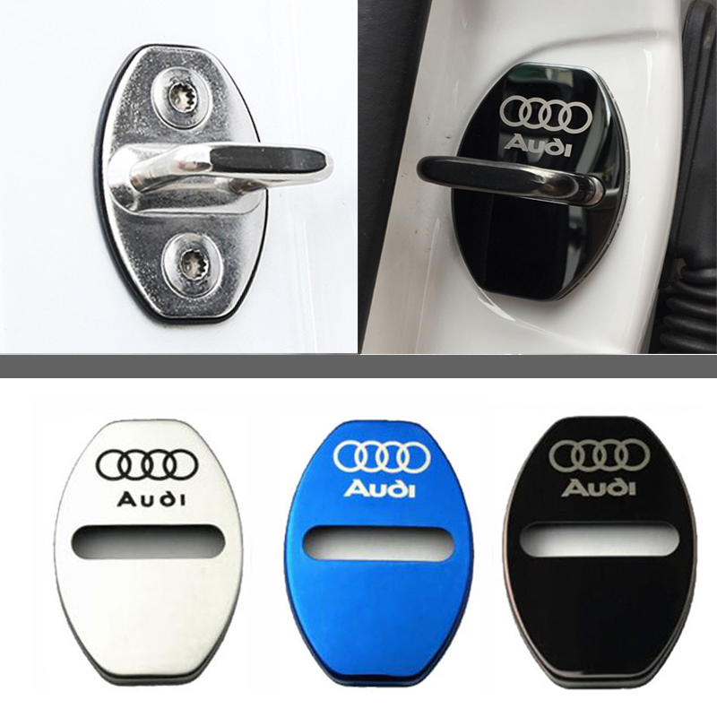 4pc Door Lock Decoration Protection Cover Emblem Case For Audi With Logo Stainless Steel Door Lock Cap Car Styling Accessories
