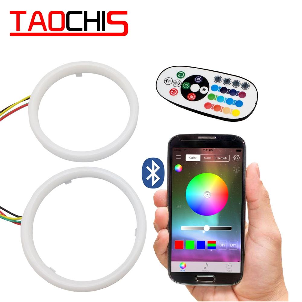 TAOCHIS RGB ange yeux téléphone Mobile APP télécommande 60mm 70mm 80mm 90mm 95mm 100mm moto Auto voiture phare modification