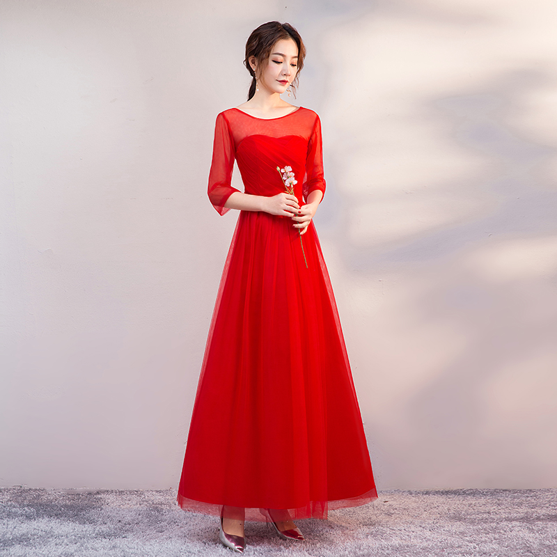 O-Neck Burgundy Bridesmaid Dresses Half Sleeves A-Line Elegant Dress Women For Wedding Party Long Simple Dress Sexy Prom Vestido
