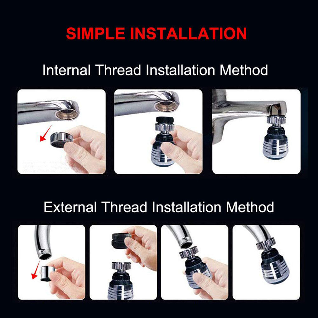 2 Modes 360 Degree adjustable Water Filter Diffuser Water Saving Nozzle Faucet Connector Shower Kitchen Faucet Aerator