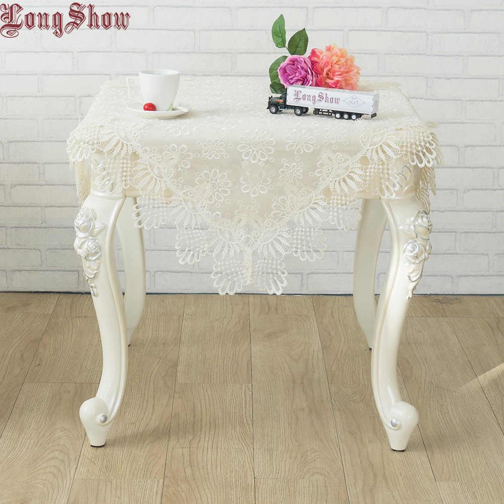 LongShow ロマンチックなヨーロッパスタイルベージュ菊純粋なオーガンジーレーストリム刺繍テーブルクロス結婚式の装飾