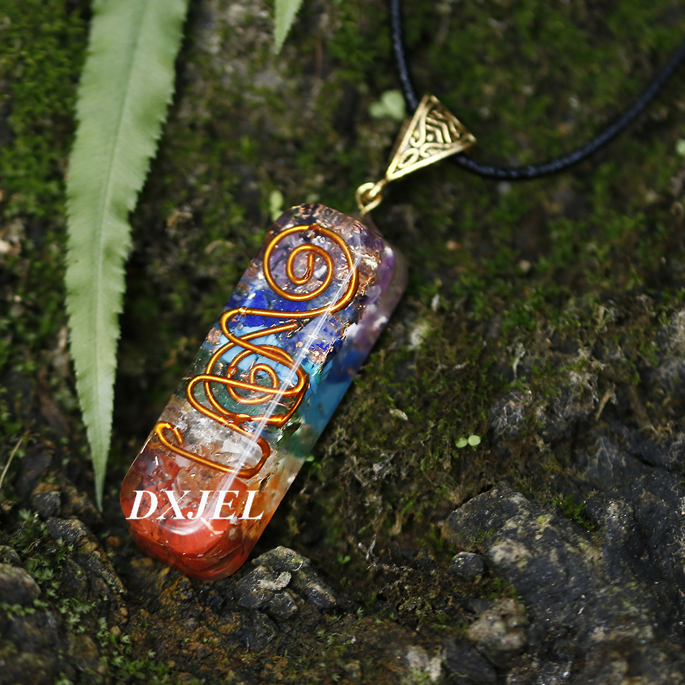 DXJEL Natural 7 Chakra Orgone Energy Healing Pendant Necklace for Women Chakra Stones Necklace for EMF Protection Dropshipping