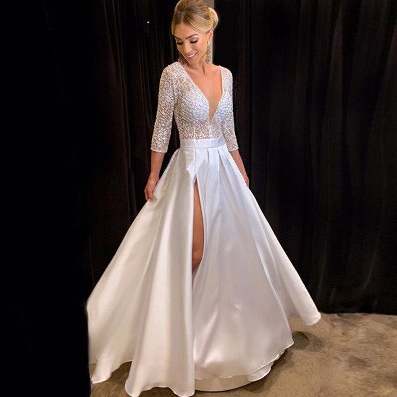 Linglewei New Spring and Summer Women's Dress  sexy deep V long sleeve dress long dress