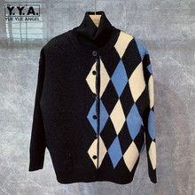 New Fashion Mens Winter Thick Sweater Coat Colors Mixed Plaid Vintage O Neck Knit Cardigan Single Breasted Harajuku Knitwear Top