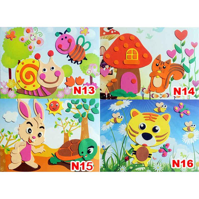 3d eva espuma adesivo jogo de quebra-cabeça diy cartoon animal aprendizagem educação brinquedos para crianças multi-padrões estilos aleatória enviar