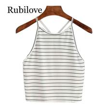 Rubilove Casual Women Striped Crop Top Summer Ladies Sexy Sleeveless Backless Vest Shirts Tops Womens Print t-Shirt Cropped