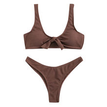 Minimalism Women's Solid Color Bikini Sexy Female Split Swimsuit Biquini Brazilian Summer Beach Bathing Suit Swim Wear(China)