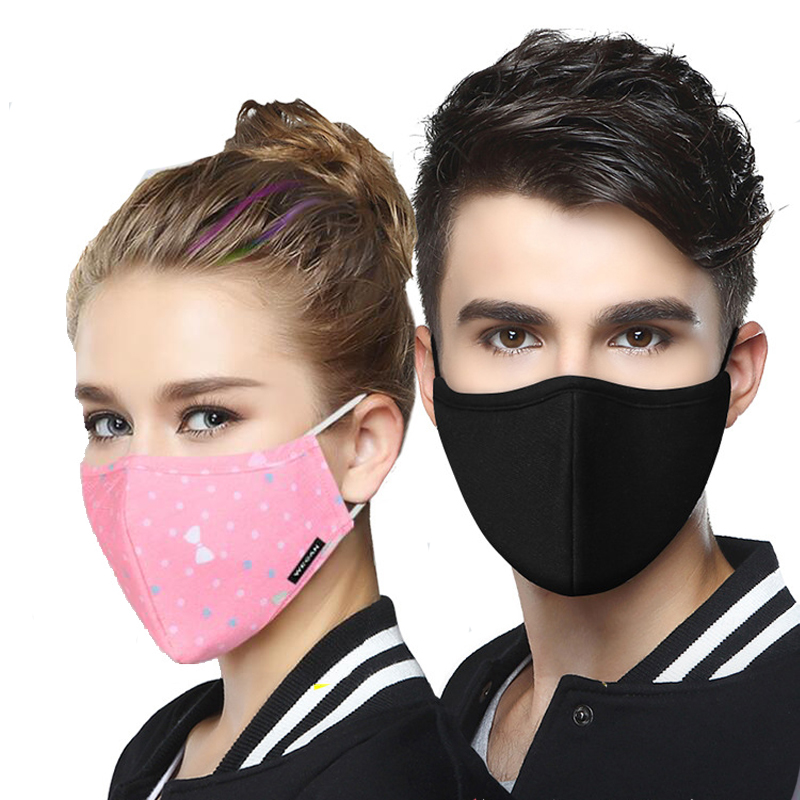 Cotton PM2.5 Masks Full Face Protective Mask Anti Haze/dust Activated Carbon Filter Washable Black Mouth Mask With 2pcs Filters