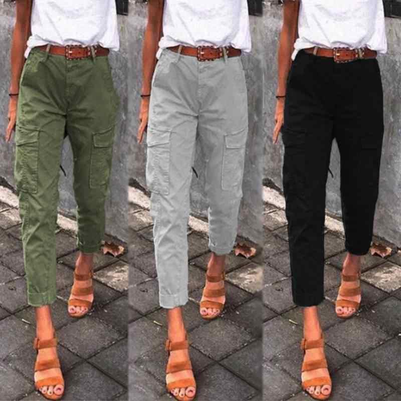 ZANZEA Donne Casual Cargo Pantaloni A Vita Alta Pantaloni Femminili Allentati Delle Signore di Stile Coreano Pantaloni Streetwear Jogging Nero Pantalon