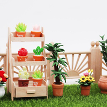 Mini Dollhouse Simulation Flower Shelf Model Fairy Garden Ornament Landscape DIY Wood Crafts Miniature For Kids Toys Gift