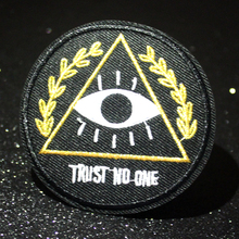 Pulaqi TRUST NO ONE Patch DIY Embroidered Badges Punk Patches For Clothes Iron On Clothing Applique Stripe F