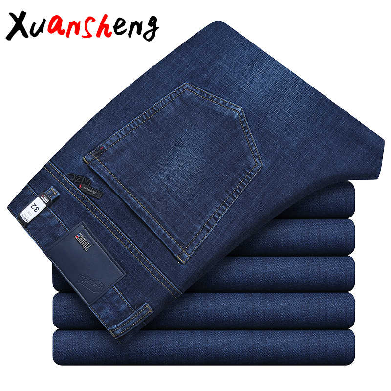 Xuansheng straight men's jeans 2019 autumn thick classic business work stretch fashion casual long pants streetwear new jeans